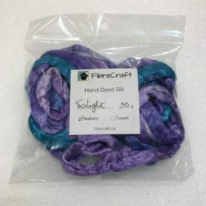 Mulberry silk fibres in package.